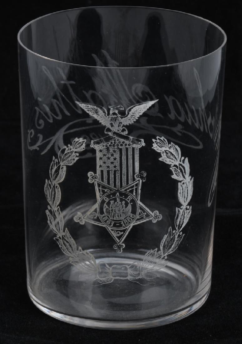 CIVIL WAR GAR IDED ETCHED DRINKING GLASS MISSOURI