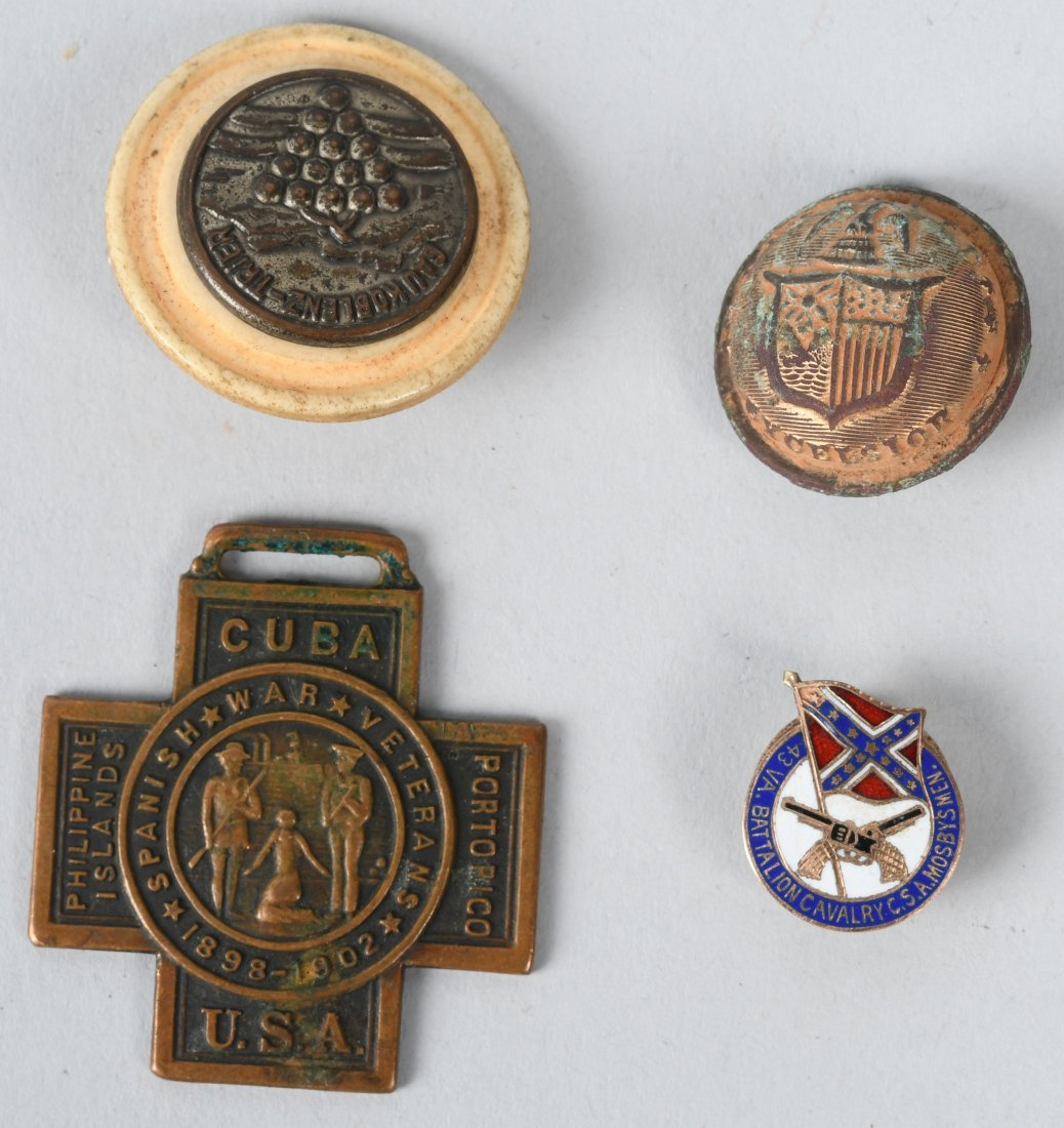 CIVIL WAR UCV MOSBY'S RANGERS PIN & MISC. MILITARY