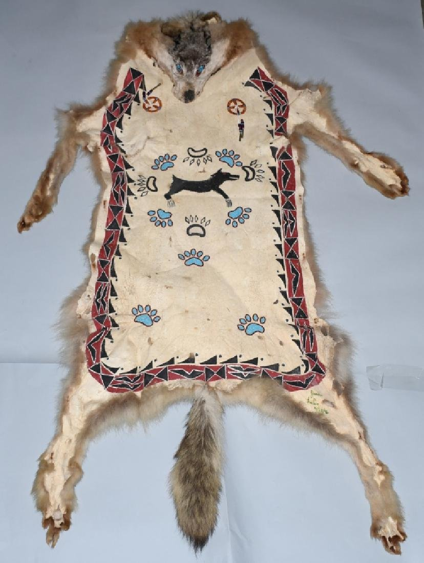 CANADIAN INUIT FULL GRAY WOLF SKIN w/ DECORATION