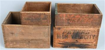 4- EARLY WOODEN AMMUNTION CRATES