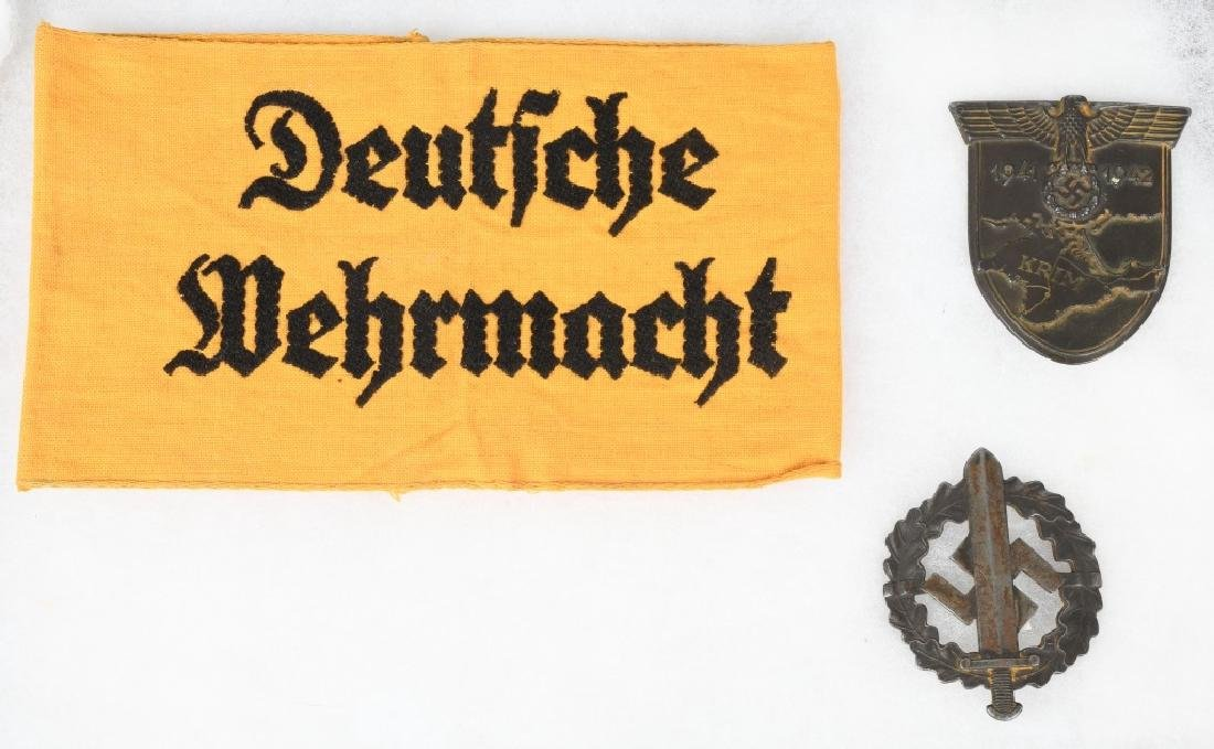 WWII NAZI GERMAN ARMBAND & MEDAL LOT