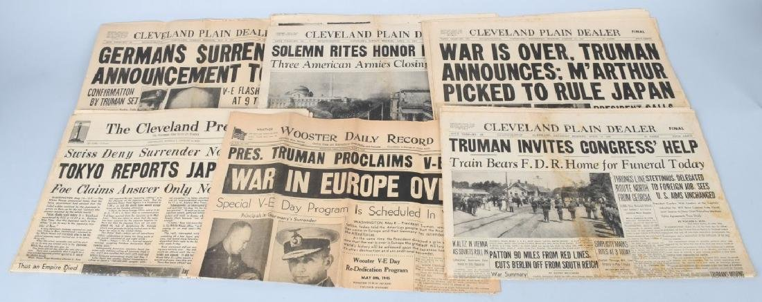 WWII HISTORIC CLEVELAND NEWSPAPER LOT - WAR OVER