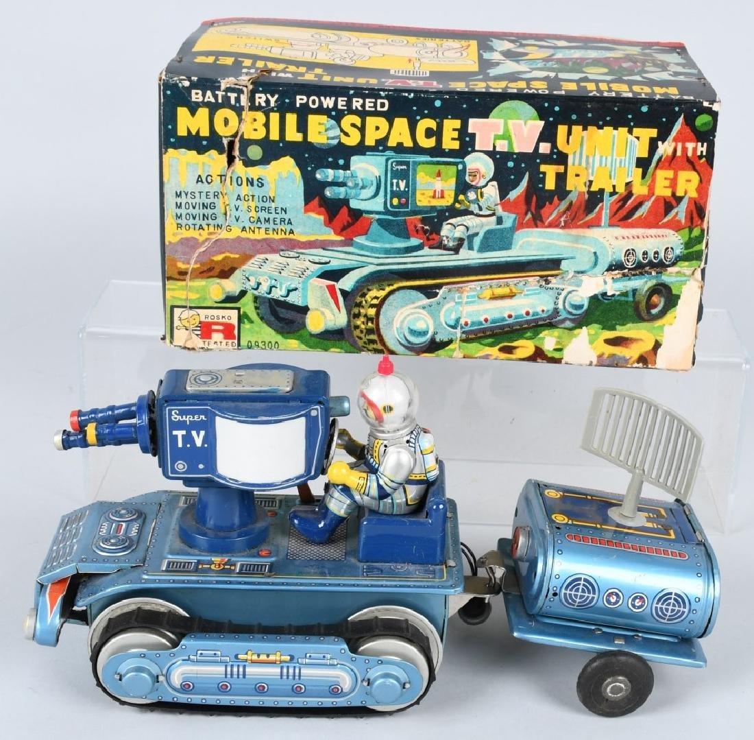 Battery Op MOBILE SPACE TV UNIT & TRAILER w/ BOX