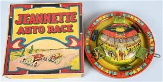 JEANNETTE Tin Windup AUTO RACE w/ BOX