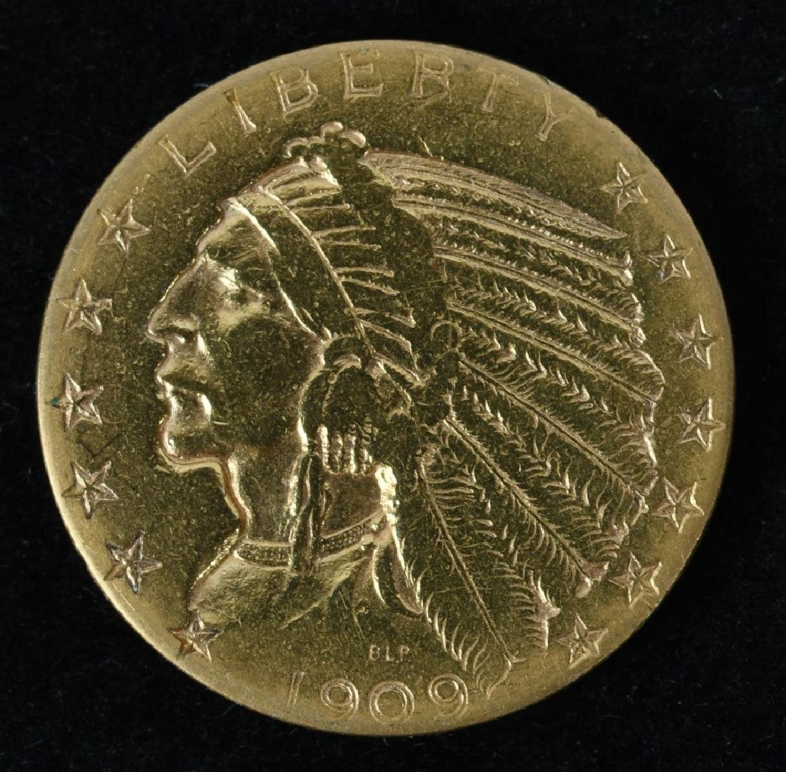 1909 $5 INDIAN US GOLD COIN