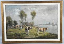 LANDSCAPE WITH COWS OIL ON CANVAS att FRISCH