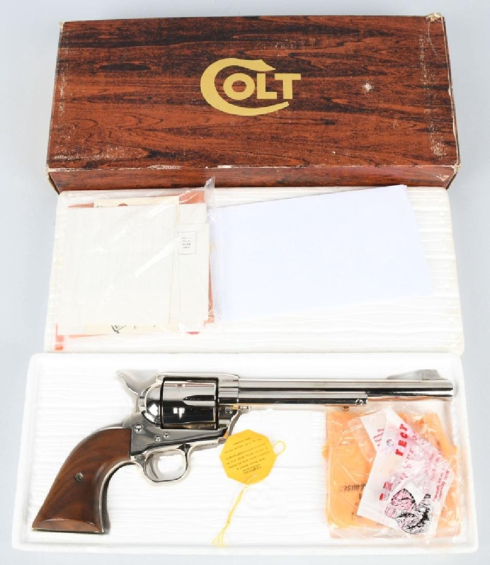 SCARCE COLT SA ARMY .44 NICKEL REVOLVER, BOXED