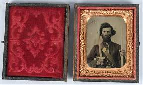 CIVIL WAR TINTYPE DOUBLE ARMED SOLDIER 1/9 PLATE