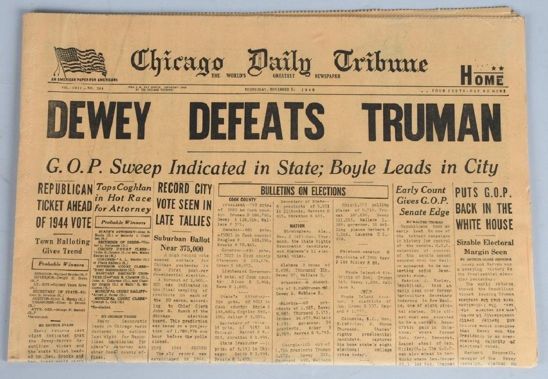 """DEWEY DEFEATS TRUMAN"" CHICAGO TRIBUNE NEWSPAPER"