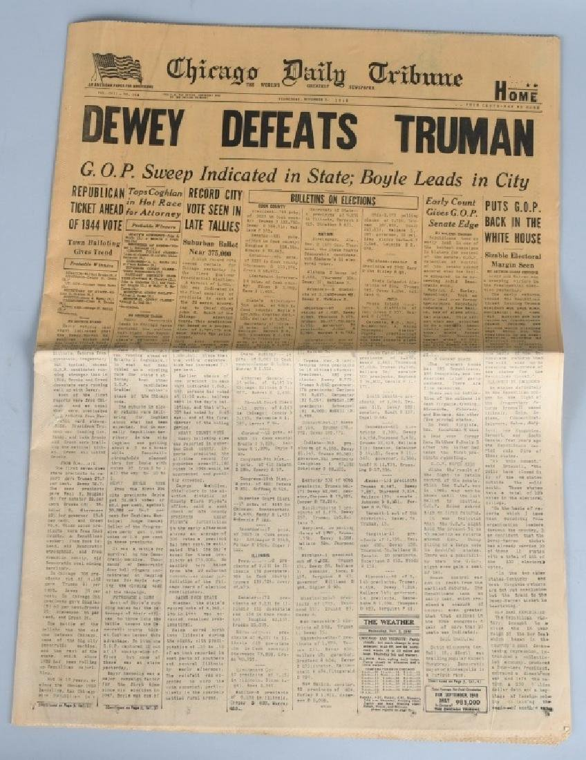 """DEWEY DEFEATS TRUMAN"" CHICAGO TRIBUNE NEWSPAPER - 2"