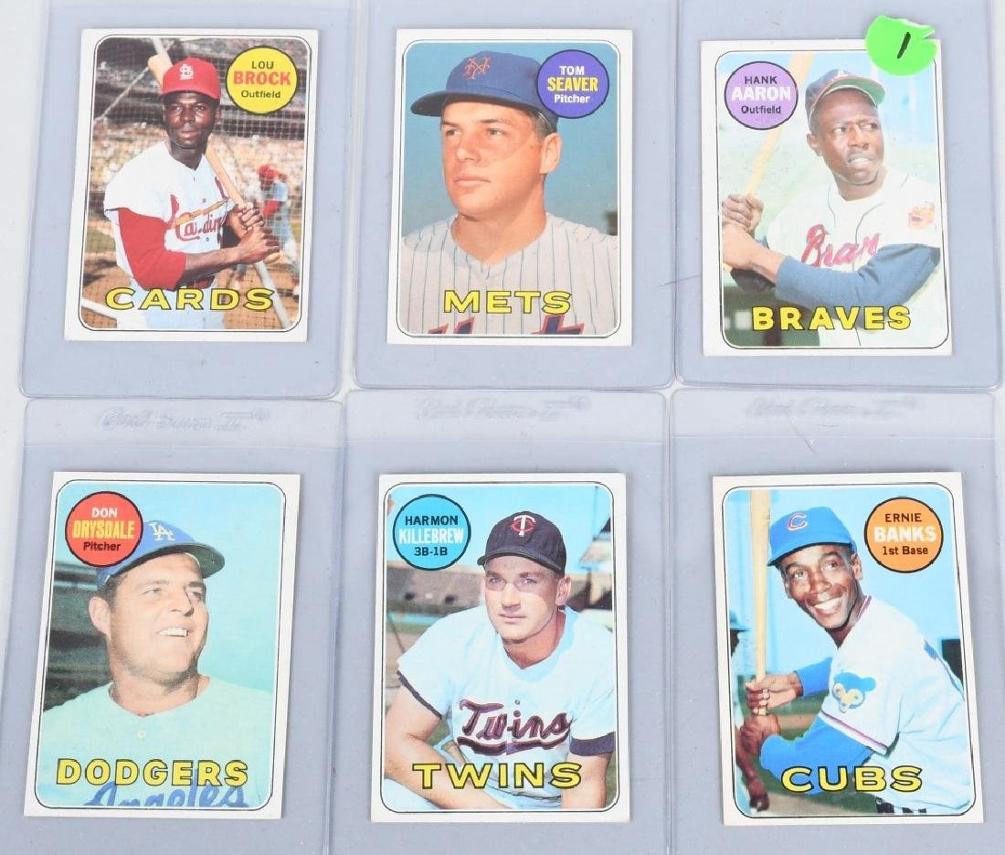 6- 69 TOPPS BASEBALL CARDS AARON, SEAVER, & MORE
