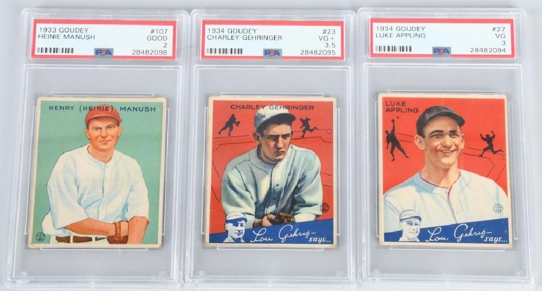 1934 GOUDEY GRADED BASEBALL CARD LOT PSA