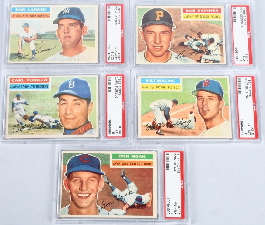 1956 TOPPS BASEBALL PSA GRADED 5 CARD LOT