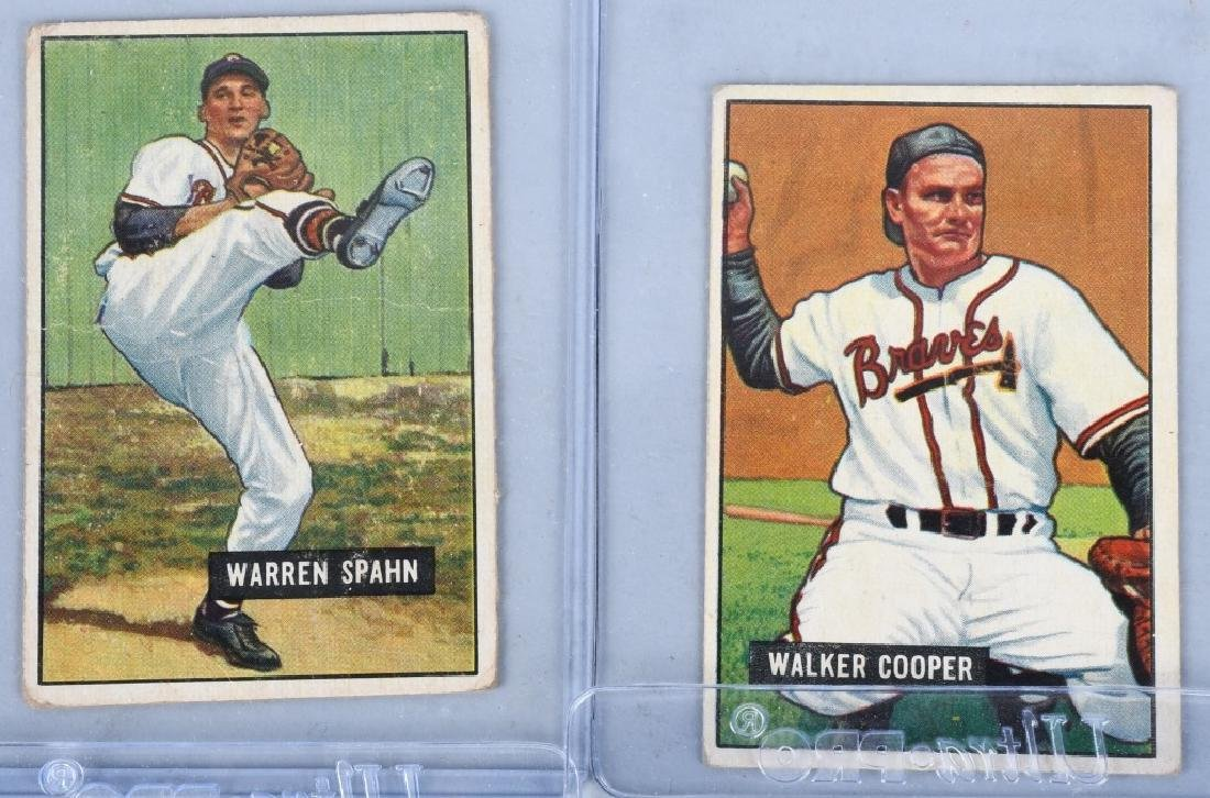 1951 BOWMAN BASEBALL CARD LOT WARREN SPAHN & MORE - 2