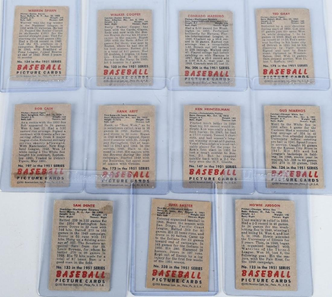 1951 BOWMAN BASEBALL CARD LOT WARREN SPAHN & MORE - 8