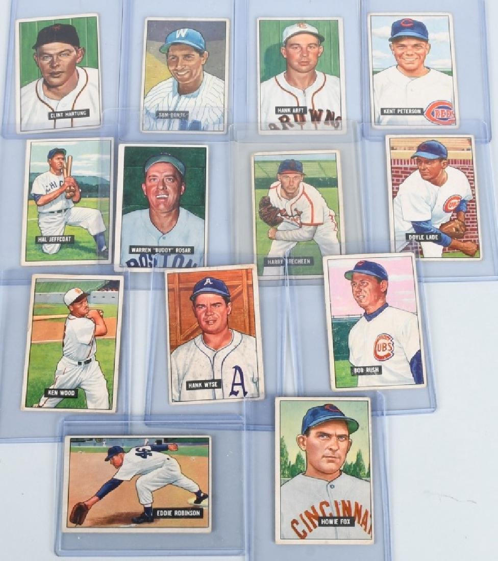 1951 BOWMAN 13 BASEBALL CARD LOT