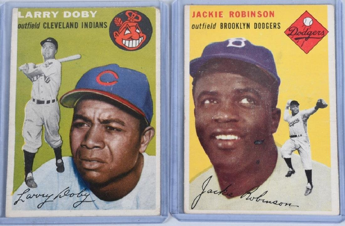 1954 JACKIE ROBINSON & LARRY DOBY BASEBALL CARDS