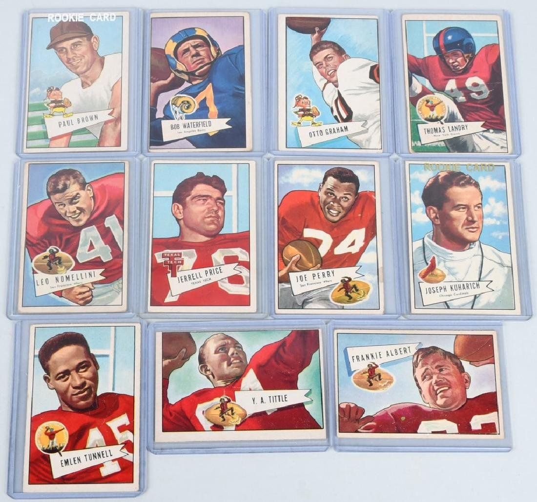 "1952 BOWMAN ""LARGE"" FOOTBALL 11 CARD LOT"