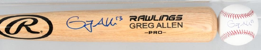 GREG ALLEN AUTOGRAPHED BASEBALL BAT & BALL