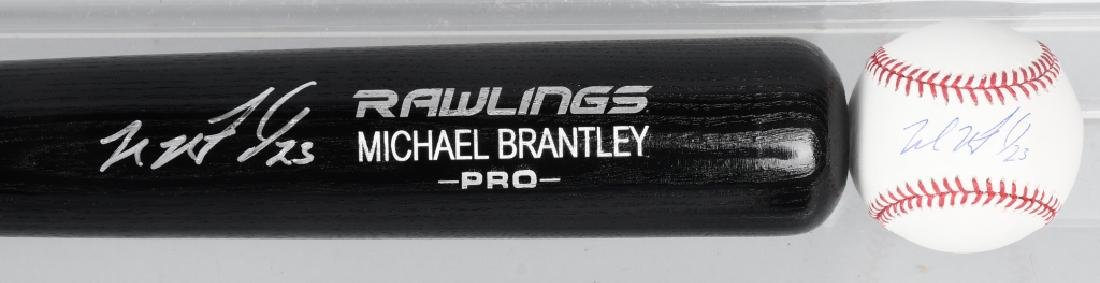 MICHAEL BRANTLEY AUTOGRAPHED BASEBALL BAT & BALL