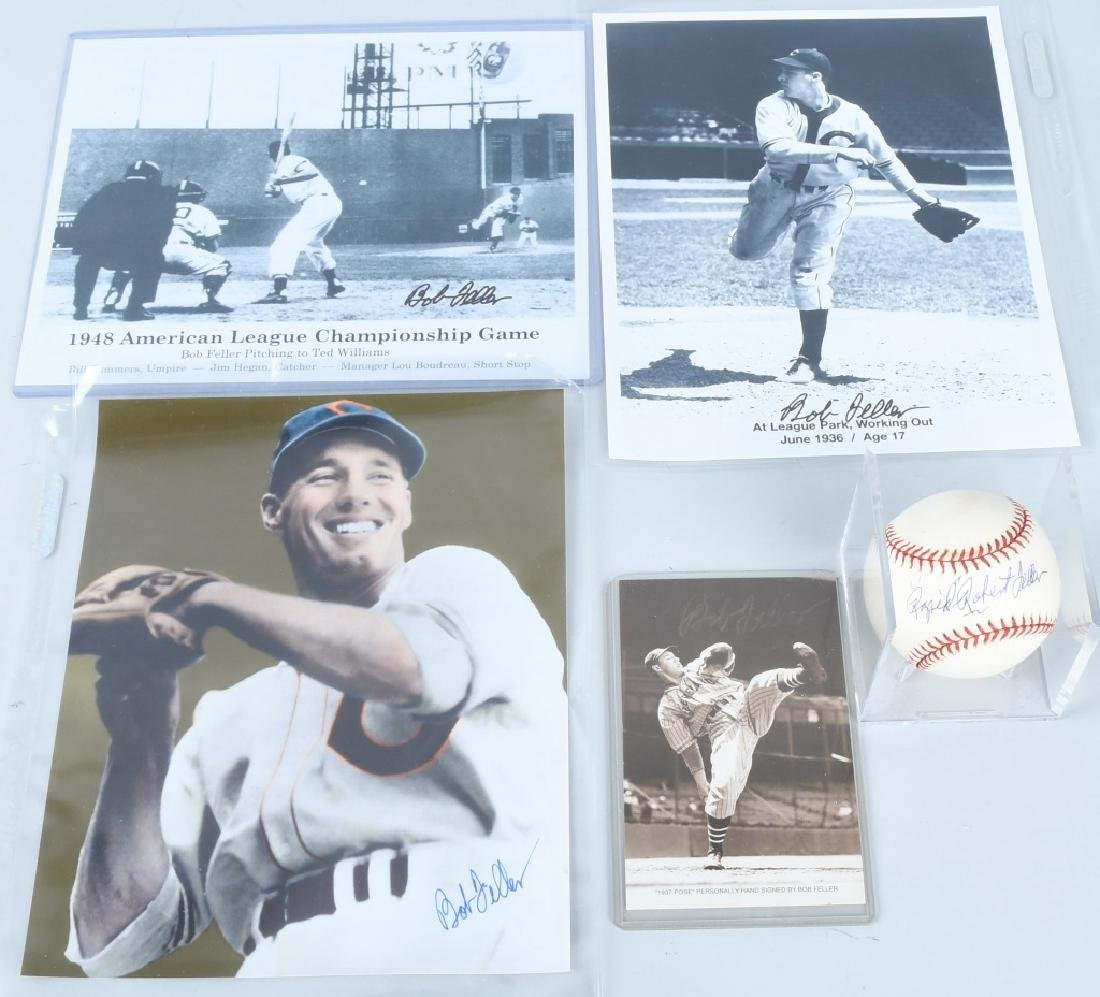 BOB FELLER CLEVELAND INDIANS SIGNED GROUP