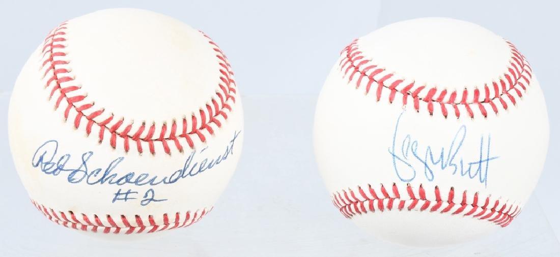 SIGNED BASEBALLS GEORGE BRETT & REDS SCHOENDIEST