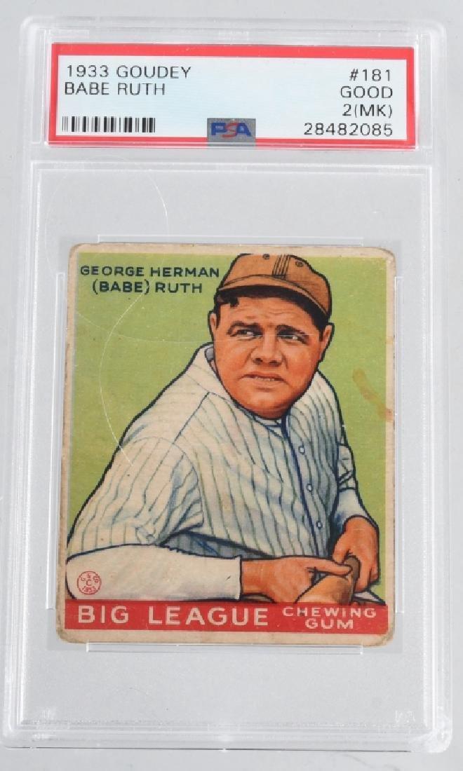 BABE RUTH 1933 PSA GRADED GOUDEY BASEBALL CARD 181