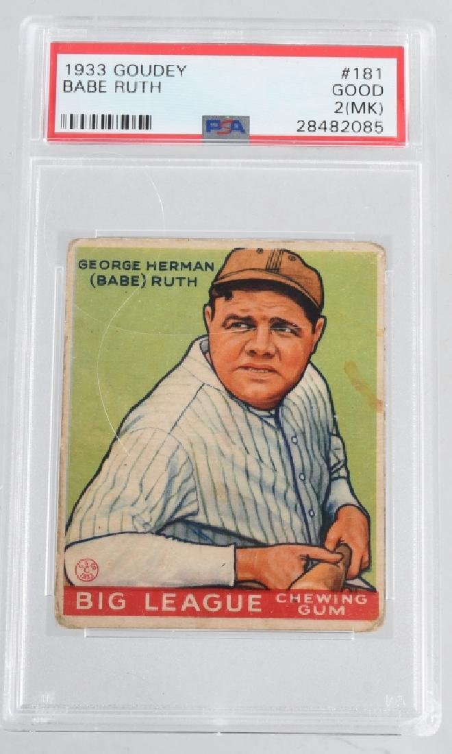 BABE RUTH 1933 PSA GRADED GOUDEY BASEBALL CARD 181