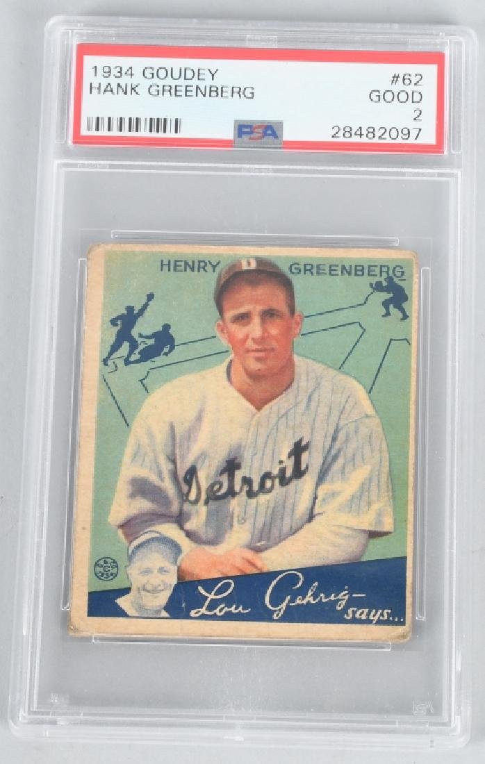 HANK GREENBURG 1934 GOUDEY CARD #62 PSA GRADED