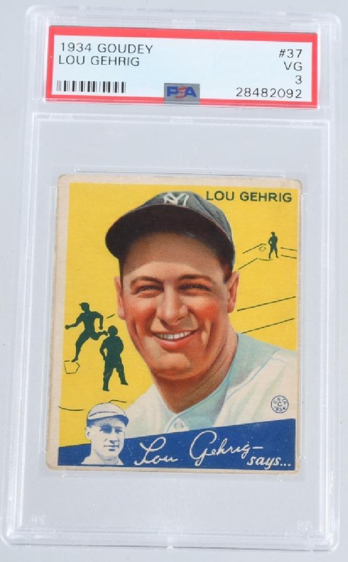 LOU GEHRIG 1934 GOUDEY BASEBALL CARD #37 PSA GRADE