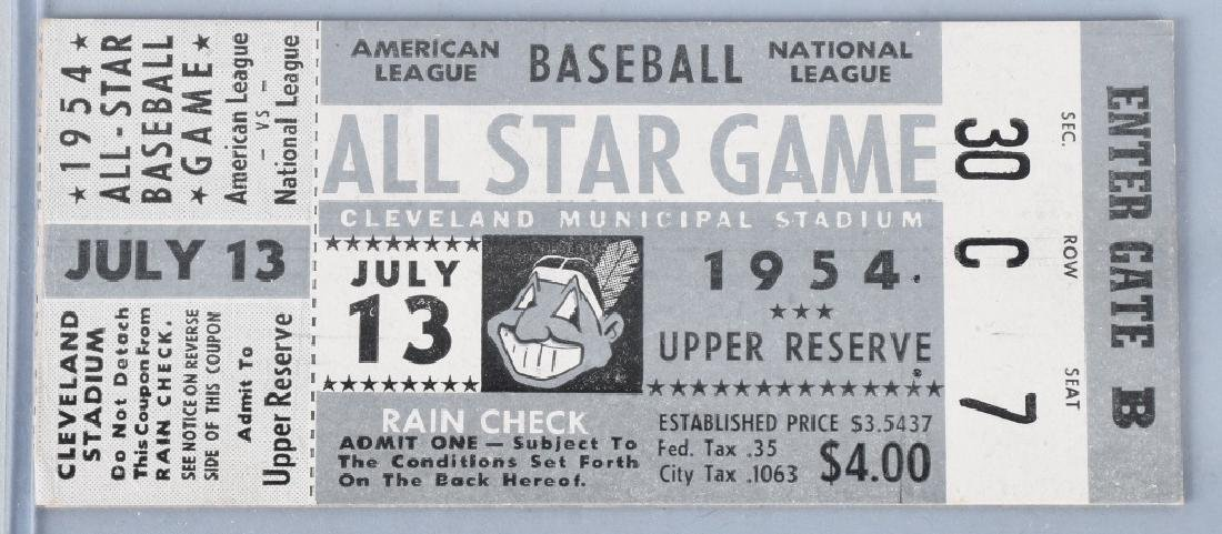 1954 BASEBALL ALL STAR GAME TICKET - CLEVELAND
