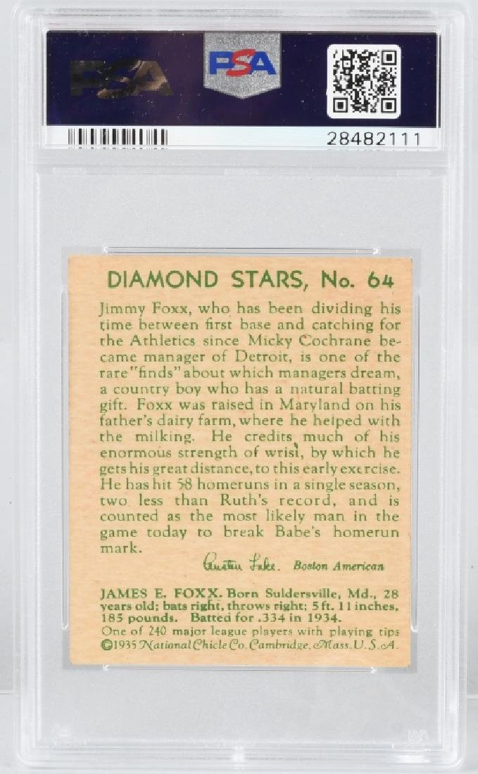 1934 DIAMOND STARS JIMMY FOXX BASEBALL CARD #64 - 3