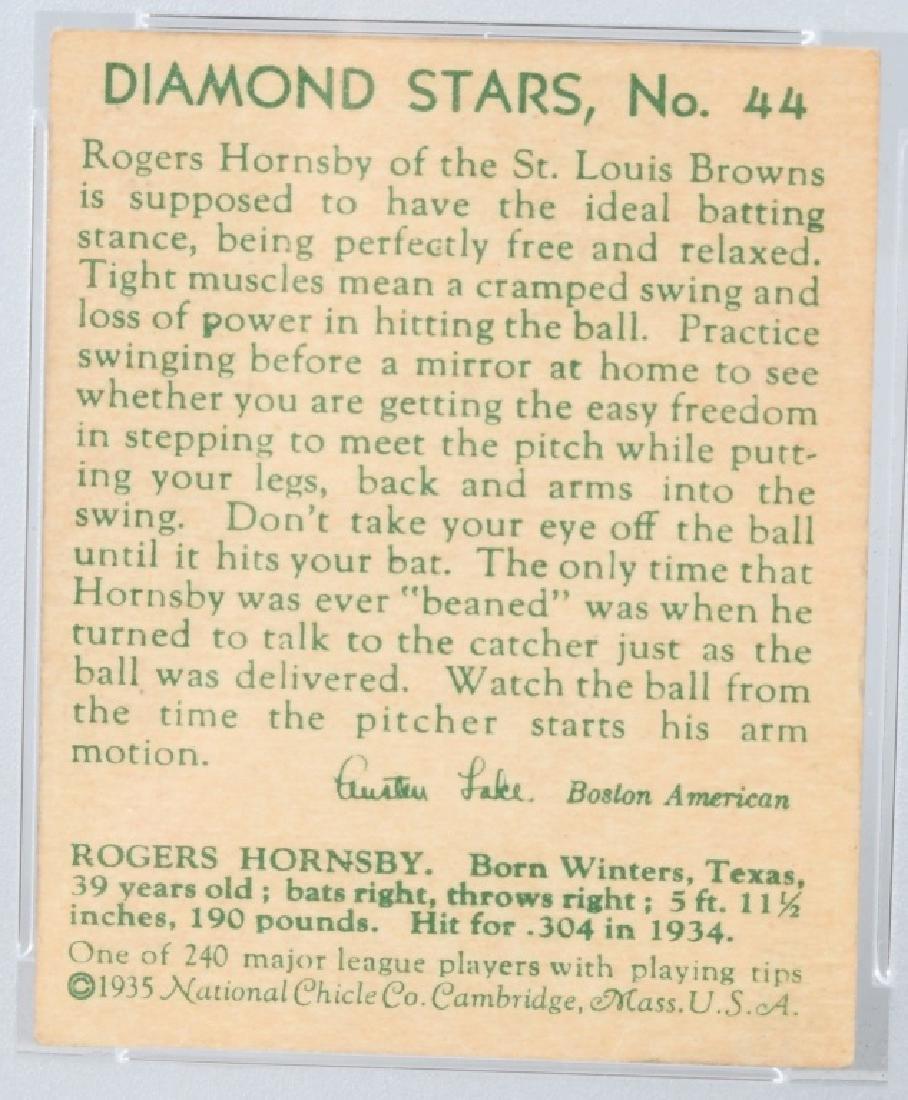 1935 DIAMOND STARS ROGERS HORNSBY CARD #44 PSA - 4