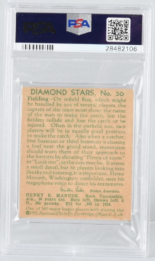 1935 DIAMOND STARS HEINIE MANUSH CARD #30 PSA - 3