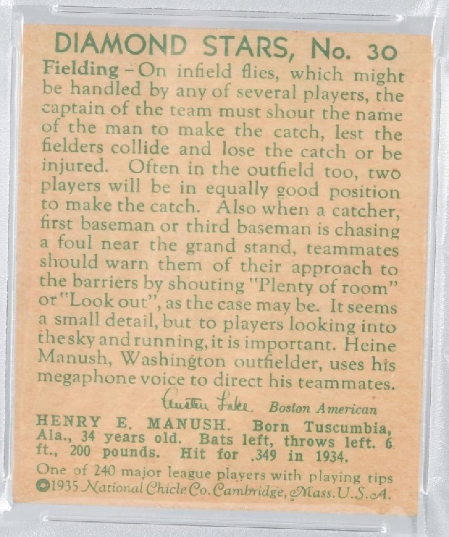 1935 DIAMOND STARS HEINIE MANUSH CARD #30 PSA - 4