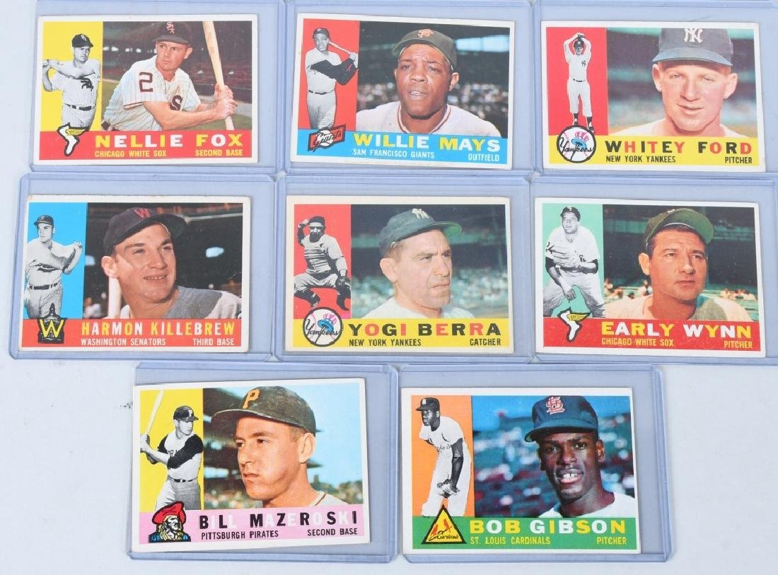 1960 TOPPS 8 BASEBALL CARDS MAYS FORD BERRA ETC
