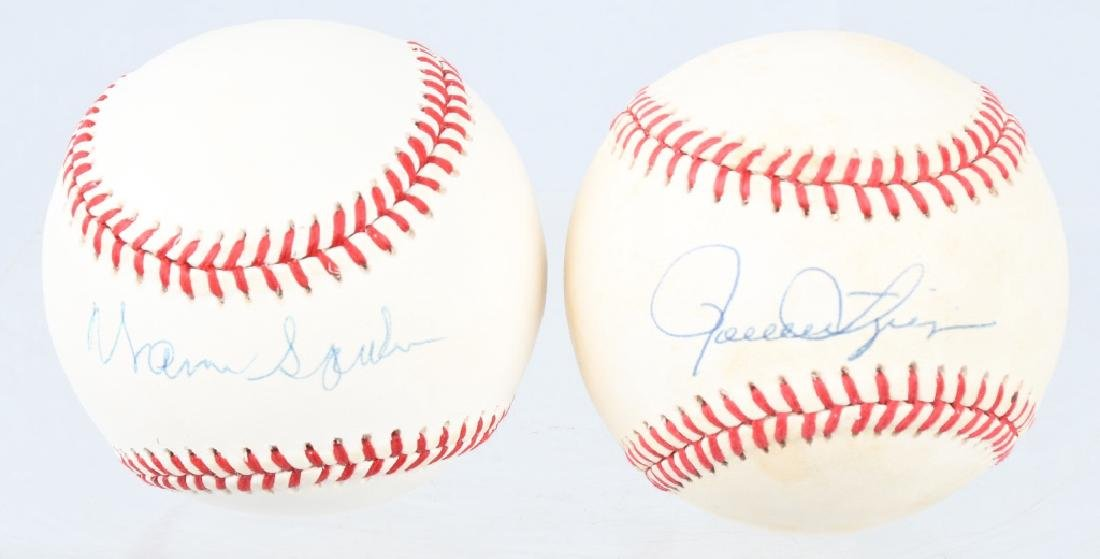 2 SIGNED BASEBALLS WARREN SPAHN & ROLLIE FINGERS