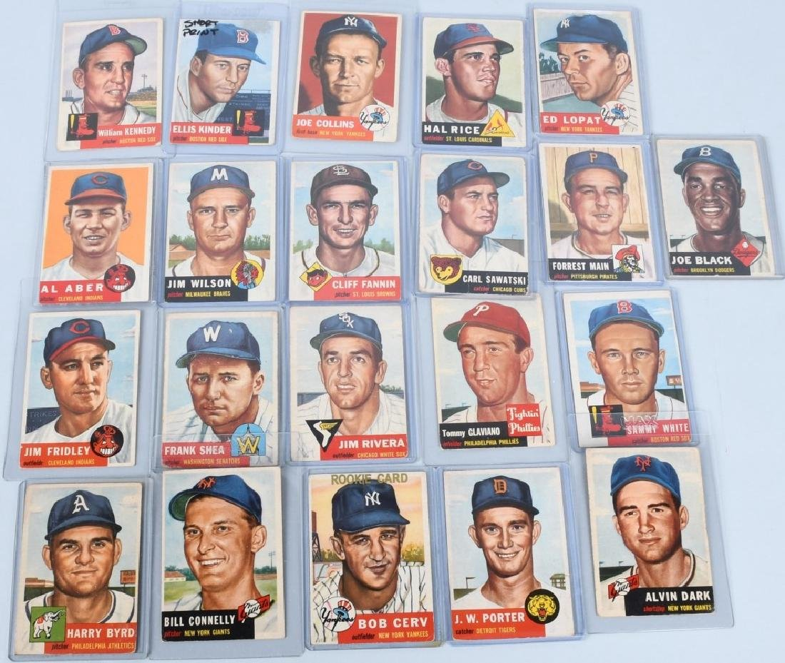 1953 TOPPS BASEBALL CARD LOT - 20 CARDS