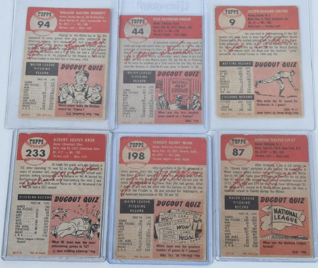 1953 TOPPS BASEBALL CARD LOT - 20 CARDS - 6