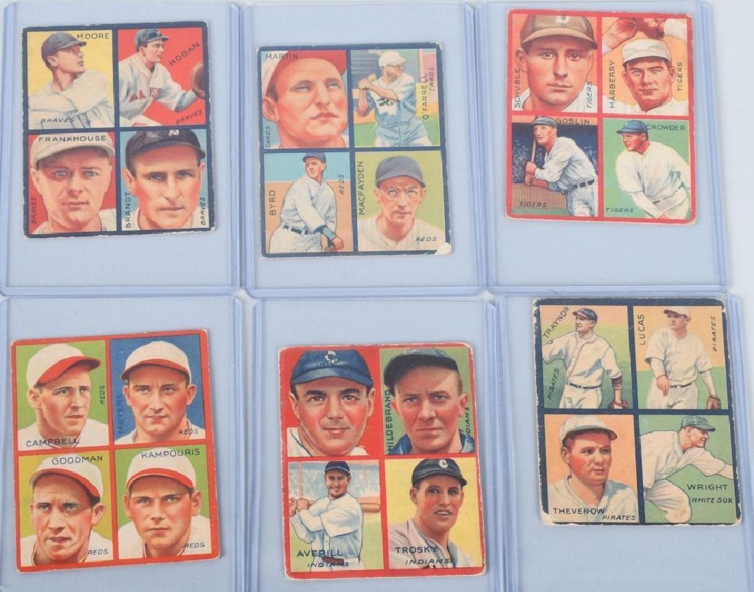 1935 GOUDEY 4-IN-1 SIX BASEBALL CARD LOT