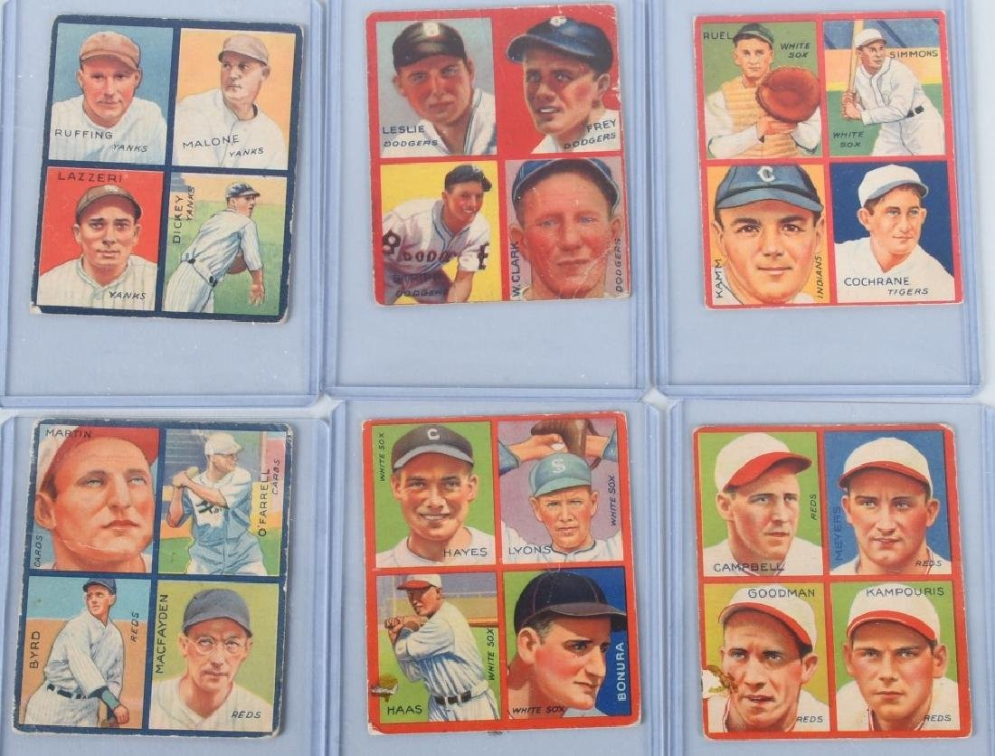 1935 GOUDEY 4-IN-1 SIX BASEBALL CARD LOT