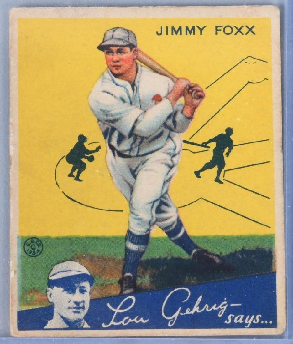 1934 GOUDEY (R320) JIMMY FOXX BASEBALL CARD #1