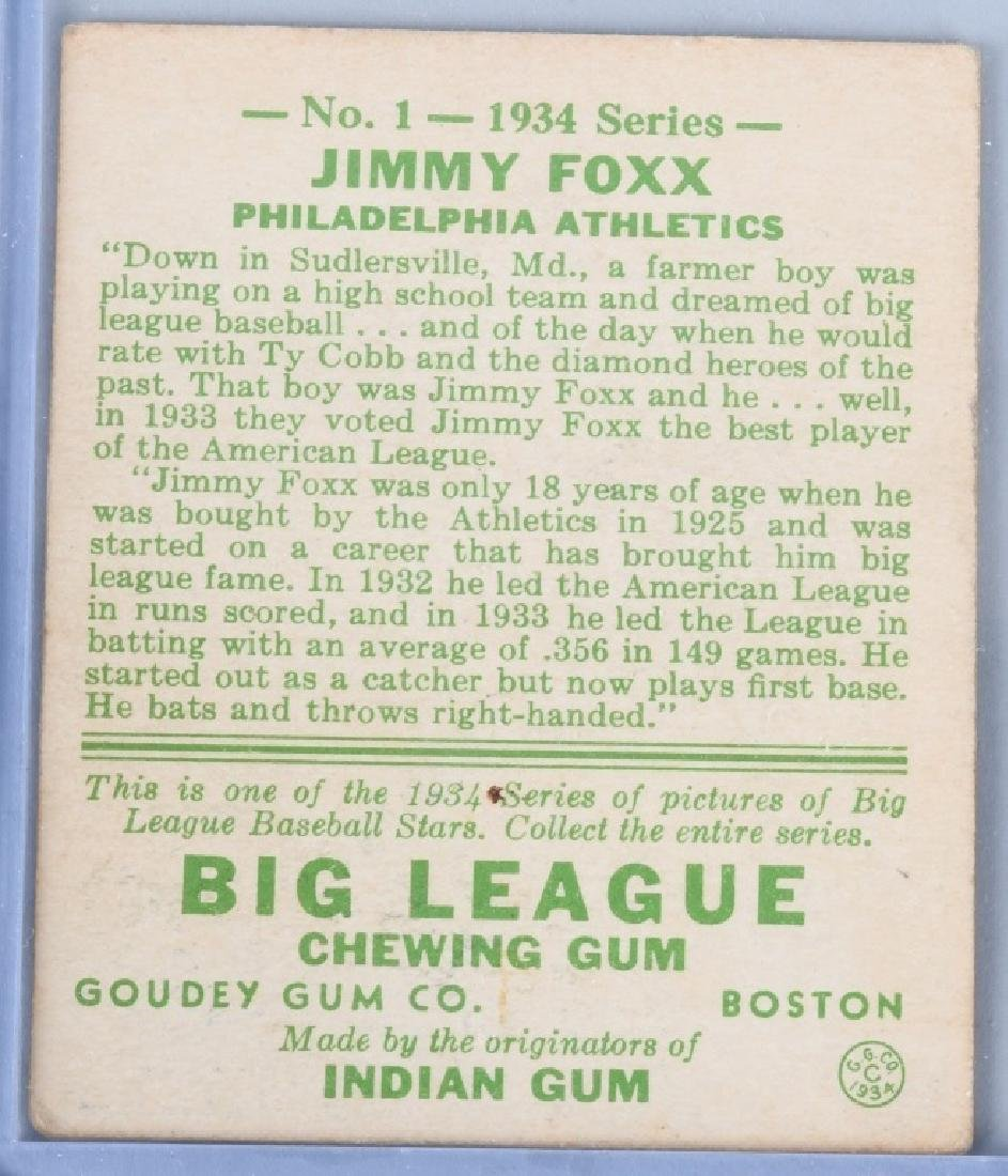 1934 GOUDEY (R320) JIMMY FOXX BASEBALL CARD #1 - 2