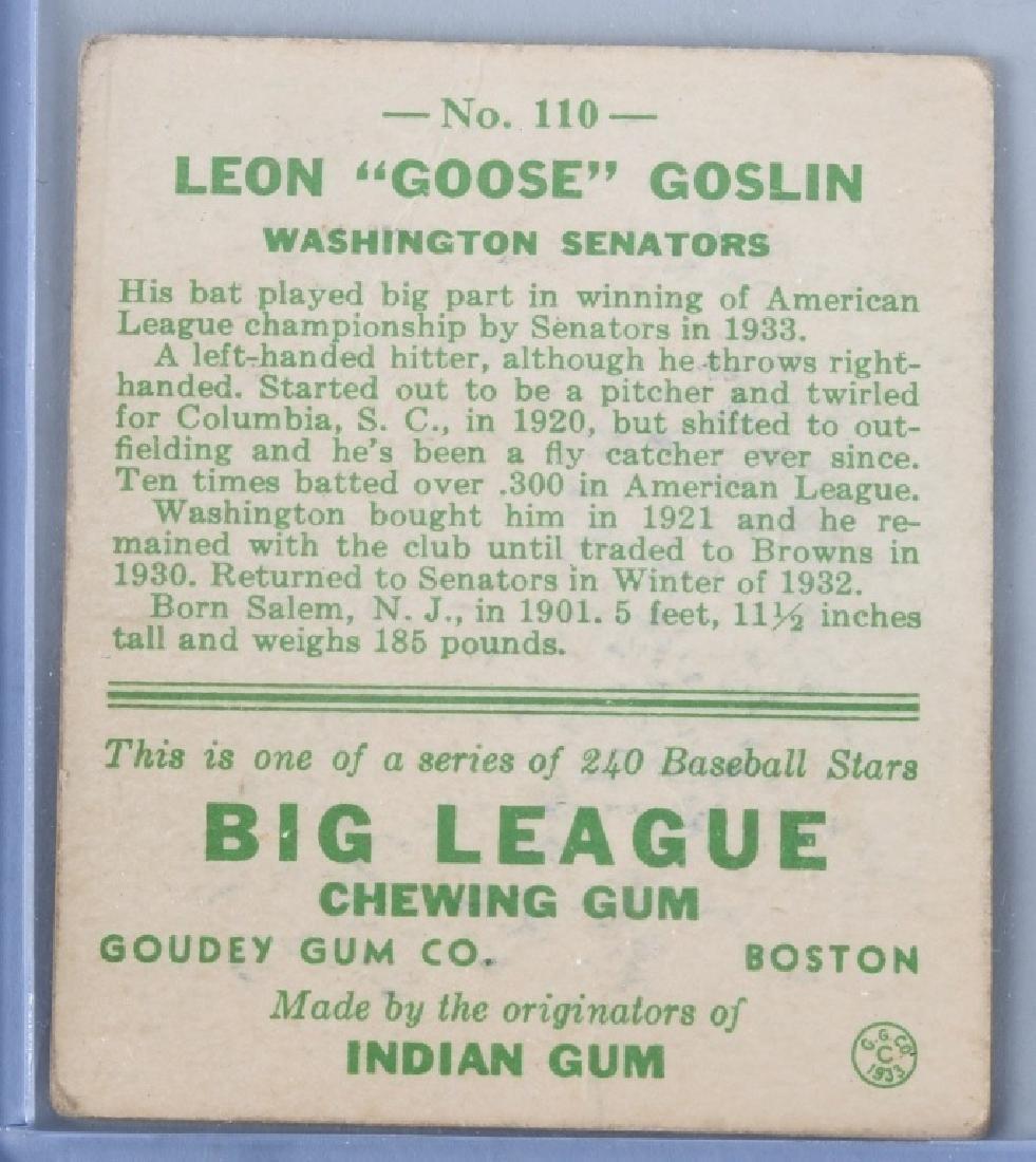 1933 GOUDEY (R319) GOOSE GOSLIN BASEBALL CARD #110 - 2