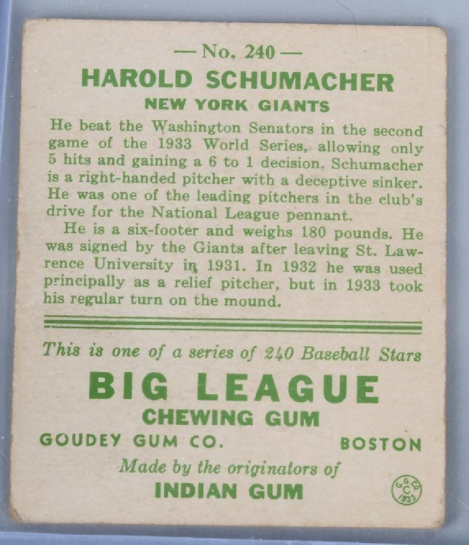 1933 GOUDEY (R319) SCHUMACHER BASEBALL CARD #240 - 2