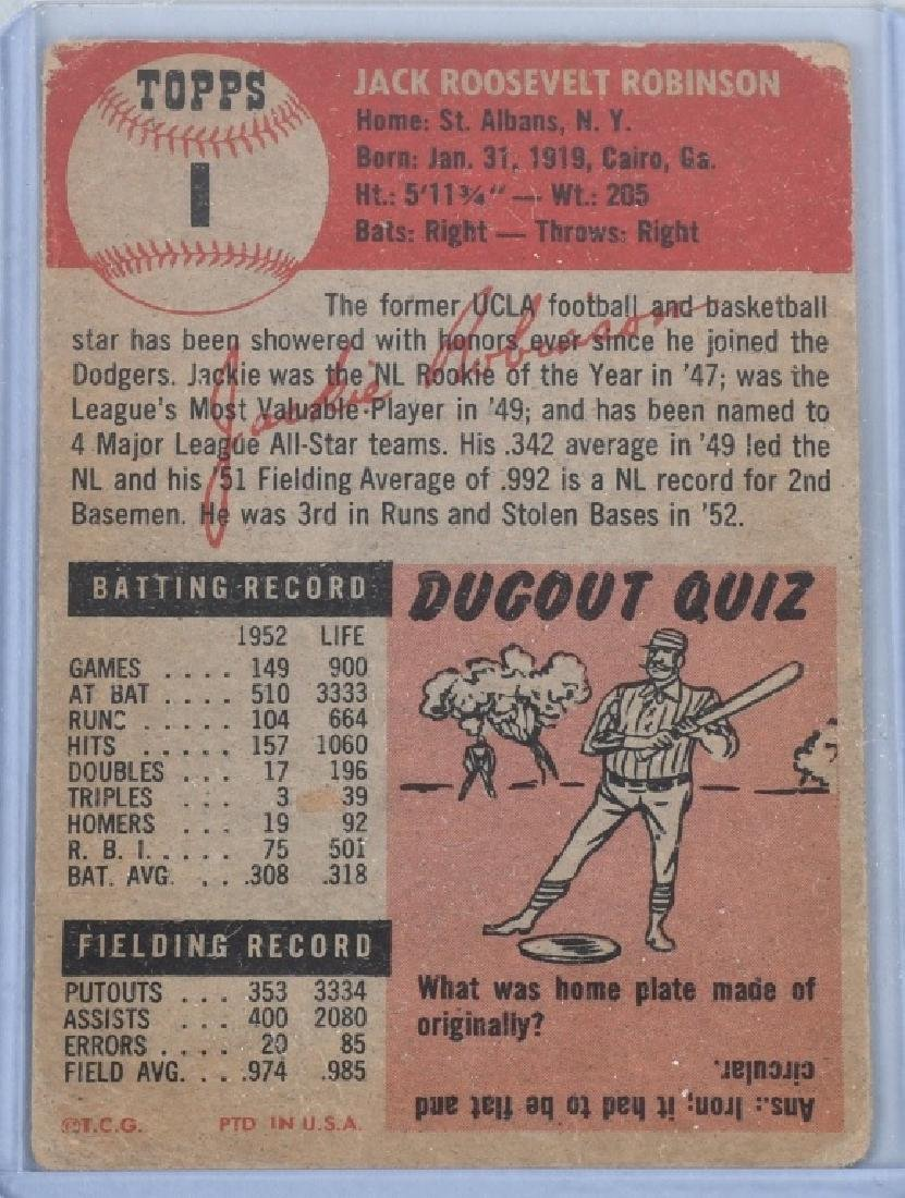 1953 JACKIE ROBINSON TOPPS BASEBALL CARD #1 - 2