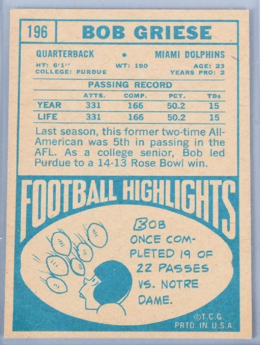 1968 TOPPS #196 BOB GRIESE ROOKIE CARD - 2