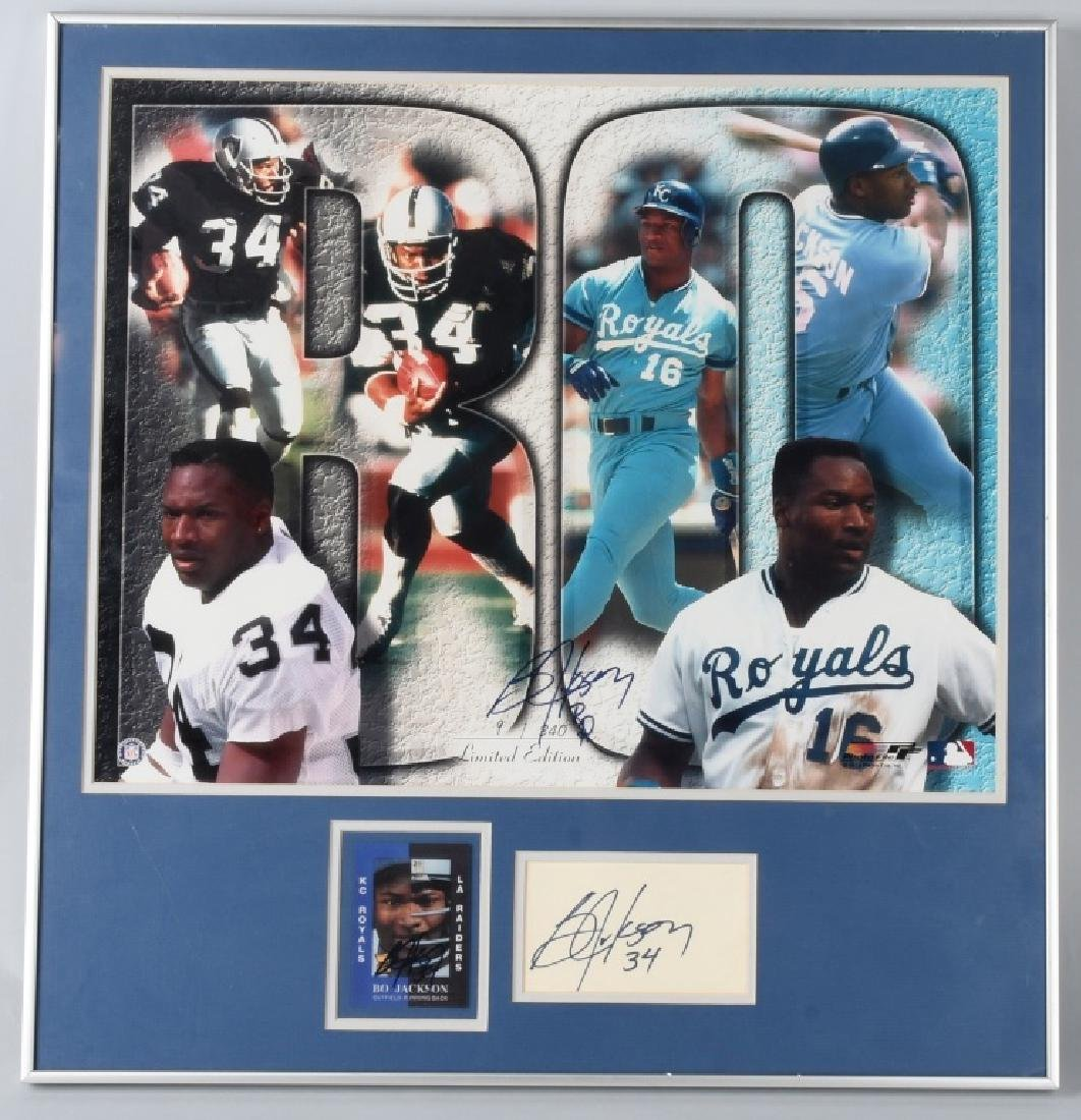 BO JACKSON SIGNED 21X31 3 SIGNATURE COLLAGE