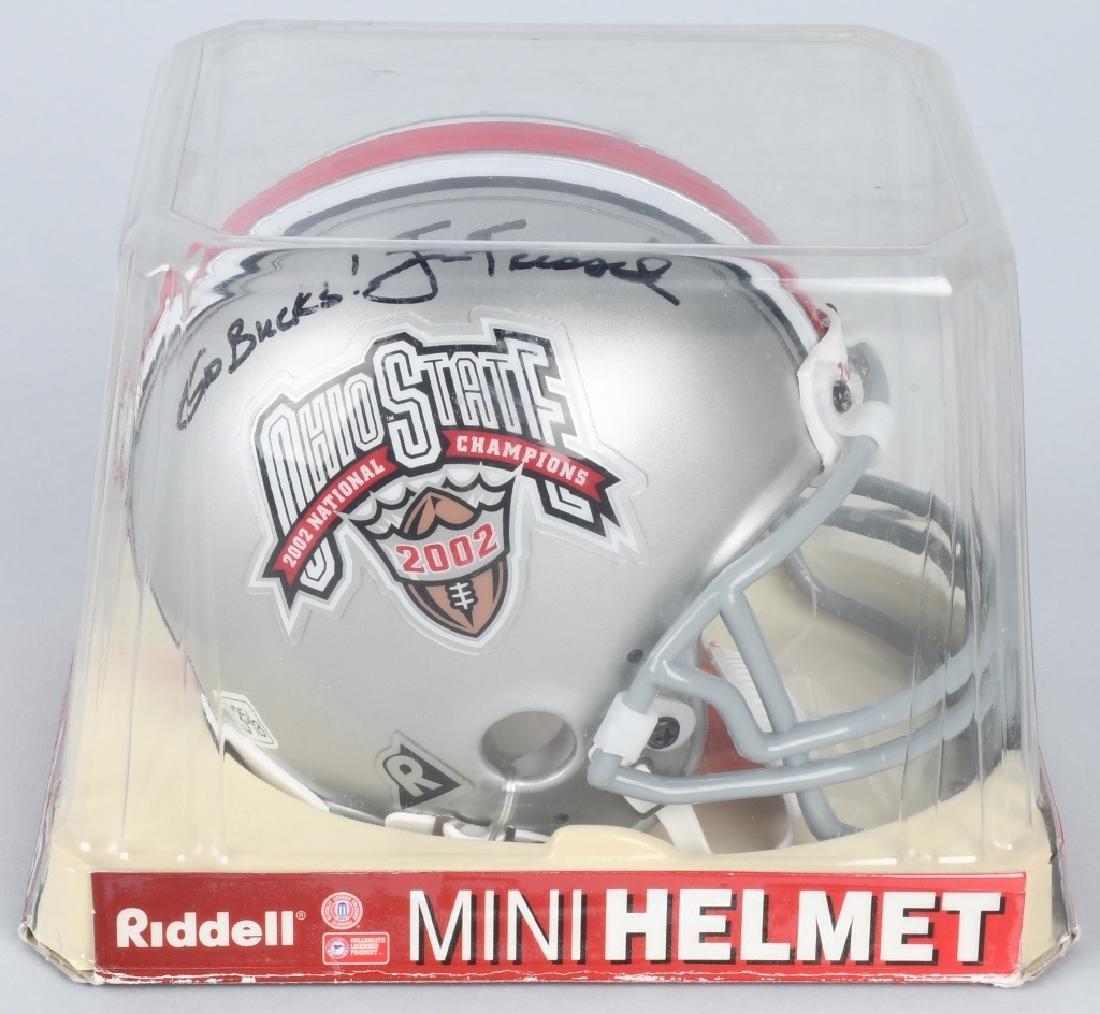 JIM TRESSEL SIGNED OSU 2002 CHAMPION MINI-HELMET
