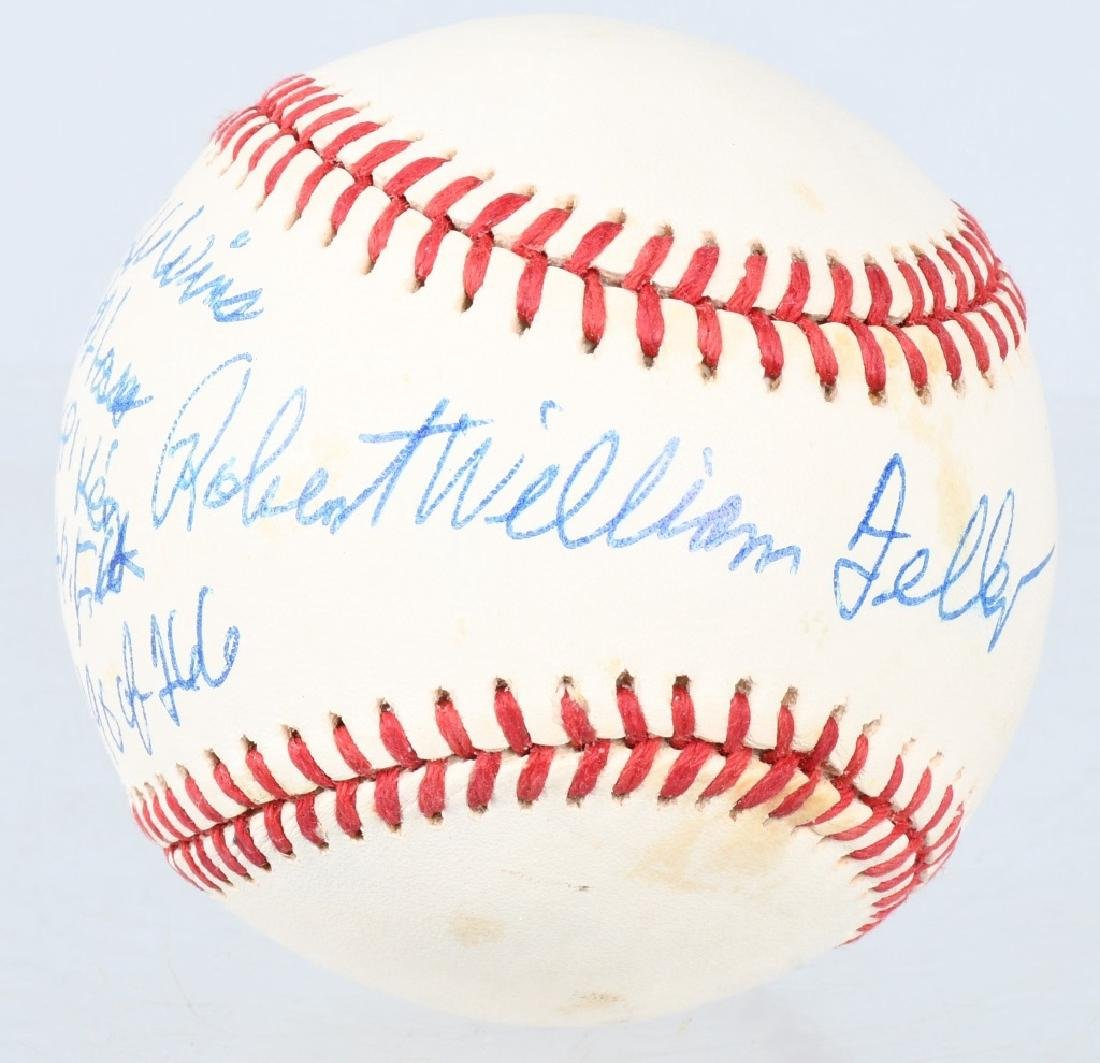 INDIANS ROBERT FELLER SIGNED STAT BASEBALL